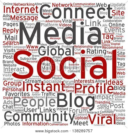 Vector concept or conceptual social media marketing or communication square word cloud isolated on background, metaphor to networking, community, technology, advertising, global, worldwide tagcloud