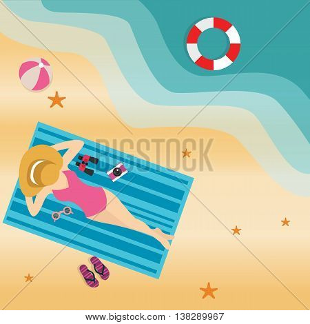 girl woman lying at beach sand sun tanning wearing hat view from top vector