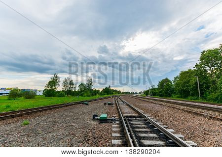 Railways. Nature landscape. Blue clouds. Epic clouds.