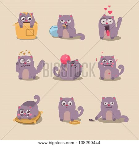 Set of cute cartoon cat in various poses, illustration