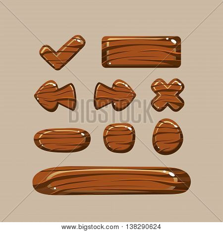 Set of cartoon wooden buttons with different shapes, gui elements