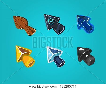 Cartoon arrows, cursors, different materials and shapes. Elements for game user interfaces.