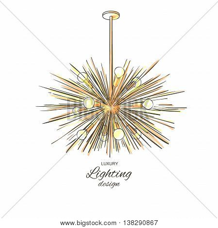 Modern golden lamp hanging from the ceiling. Lighting decor