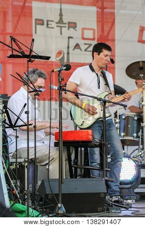 St. Petersburg, Russia - 2 July, Duet of musicians with instruments, 2 July, 2016. Annual international festival of jazz and blues in St. Petersburg.