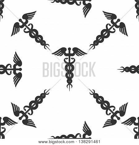 Caduceus medical symbol icon seamless pattern on white background. Vector Illustration
