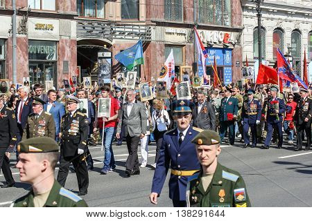 St. Petersburg, Russia - 9 May, Procession of the people and the military, 9 May, 2016. Memory Action