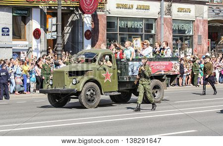 St. Petersburg, Russia - 9 May, Military truck with people, 9 May, 2016. Memory Action