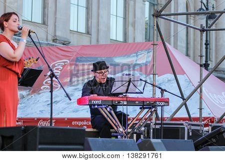 St. Petersburg, Russia - 2 July, The musicians on stage, 2 July, 2016. Annual international festival of jazz and blues in St. Petersburg.