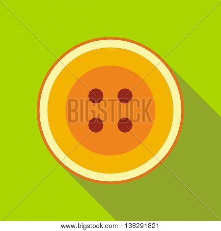 Color sewn button icon in flat style on a green background