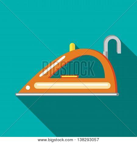 Orange iron icon in flat style on a turquoise background
