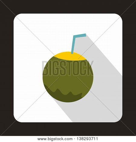 Coconut with straw icon in flat style on a white background