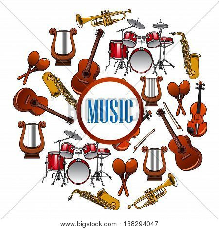 Collection of sound equipment or music instruments . Trap set or drum kit, acoustic guitars and violin, lyre and saxophone, trumpet.  Woodwind, string, brass, percussion used in jazz, rock, pop, disco. Musical art
