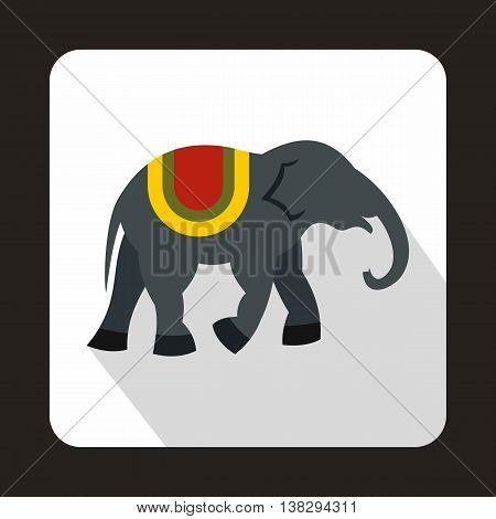 Elephant icon in flat style on a white background
