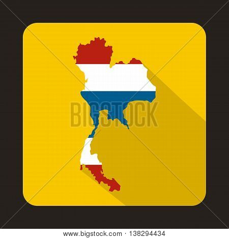 Map of Thailand in Thai flag colors icon in flat style on a yellow background