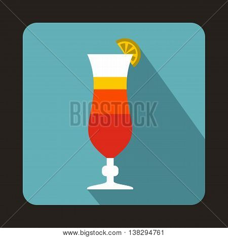 Colorful cocktail icon in flat style on a baby blue background