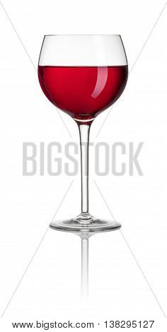 Glass Filled With Red Wine On A White Background