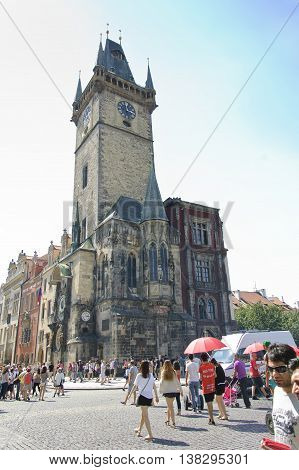 Prague Czech - 03 July 2015: Old Town Hall which is located on the Old Town Square is one of the major Prague's attractions