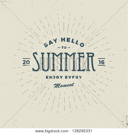 say hello to summer vintage hipster sign