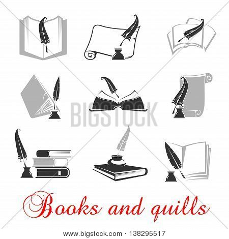 Manuscript and books with quill and ink. Education or knowledge black set of icons. Calligraphy of handwritten or typewritten history scrolls