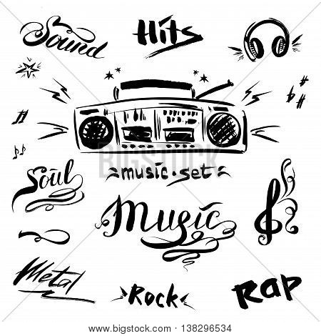 Hand drawn sketch with notes music player and music styles lettering signs vector illustration