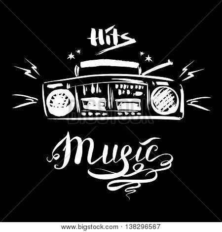 Hand drawn sketch with music player and music styles lettering signs vector illustration