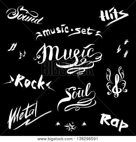 Hand drawn sketch with notes and music styles lettering signs vector illustration on black background