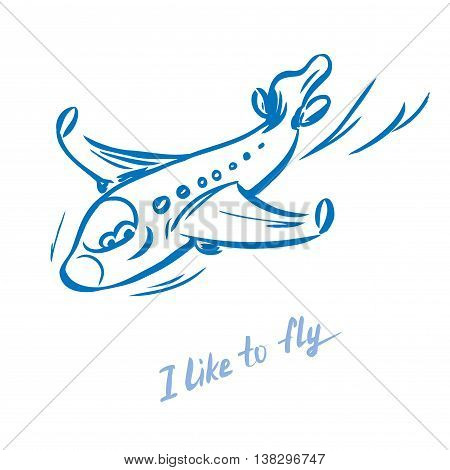 Jet plane hand drawnvector illustration on white background