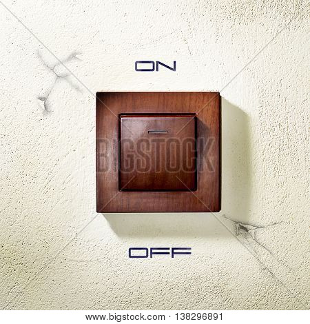 Wooden electric wall-mounted light switch with falling shade