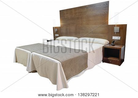 image of double bed isolated on white background