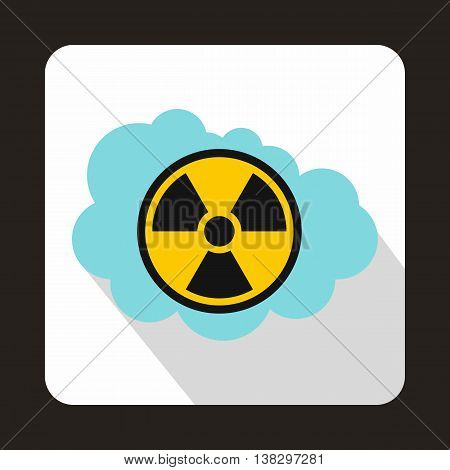 Cloud and radioactive sign icon in flat style on a white background