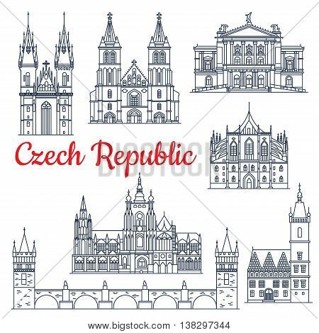 Czech republic thin line travel historical landmarks. Charles bridge on Vltava and Church of mother of God or our Lady before Tyn, metropolitan cathedral of Saints Vitus, Wenceslaus and Adalbert, Prague State Opera, St. Barbaras Church, Town Hall