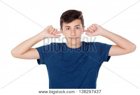 Teenager guy covering his ears isolated on a white background