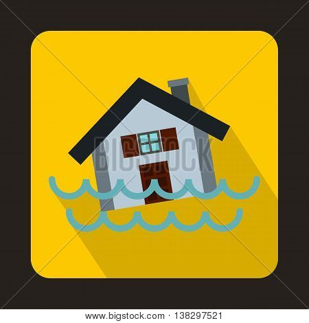 House sinking in a water icon in flat style on a yellow background