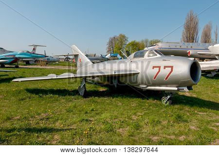 Kyiv Ukraine - April 26 2015: A MiG-17F Fresco high-subsonic fighter aircraft at April 26 2015 at the Museum of Aviation in Kiev Ukraine.