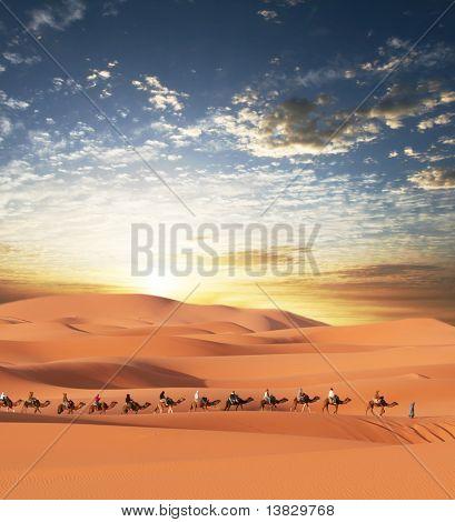 Caravana en el desierto del Sahara