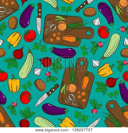 Vegetable salad preparation or production seamless pattern with potato and pepper, radish and tomato, carrot and onion, squash and peas, eggplant, knife and cutting board isolated on cyan or blue.