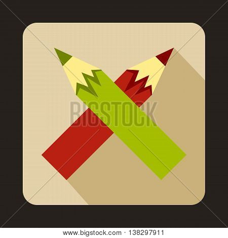 Two crossed colorful pencils icon in flat style on a beige background