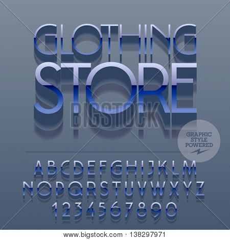 Set of slim reflective alphabet letters, numbers and punctuation symbols. Vector blue logo with text Clothing store. File contains graphic styles