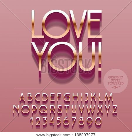 Set of slim reflective silver alphabet letters, numbers and punctuation symbols. Vector pink greeting card with text Love you! File contains graphic styles