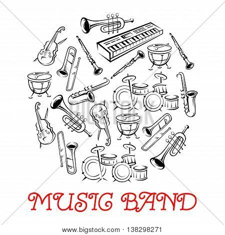 Sketched sound instruments or equipment for musical band. Synthesizer and violin with bow or fiddlestick, trap set or drum kit, saxophone and trumpet.  Woodwind, string, brass, percussion used in jazz, rock, pop, disco.