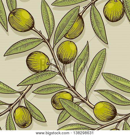 Olive branch engraving style seamless pattern vector illustration. Scratch board style imitation