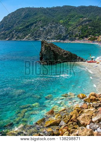 Monterosso al Mare beach, the largest village of the Cinque Terre Unesco Heritage, Italy.