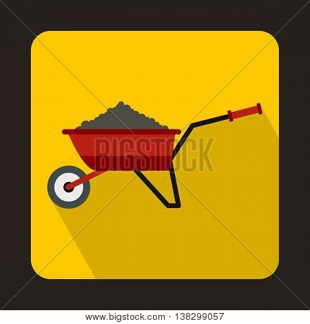 Red wheelbarrow loaded with soil icon in flat style on a yellow background