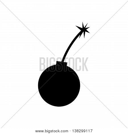 Bomb icon. Silhouette symbol. Flat design vector illustration