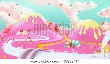 Pink sweet landscape, vector background