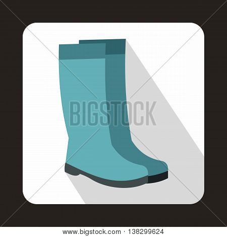 Rubber boots icon in flat style on a white background