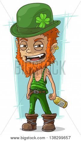 A vector illustration of cartoon evil drunk leprechaun with bottle