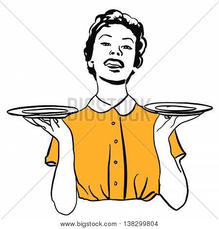 Vintage Housewife Or Waitress Balance Empty Plates