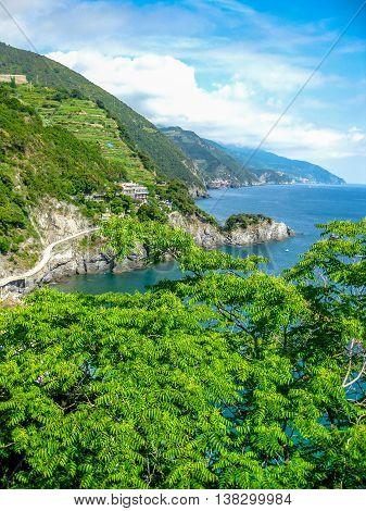 Aerial view of the landscape of Monterosso al Mare, Cinque Terre, Italy.
