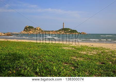 Ke ga lighthouse in Phan Thiet region, Vietnam. View from the shore
